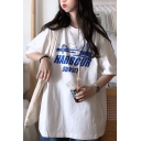 Cool Girls' Short Sleeve Crew Neck Letter HARBOUR SUNSET Graphic Longline Oversize BF Tee
