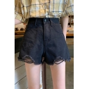 Korean Style Girls' High Rise Ripped Cuff Solid Color Wide Leg Denim Shorts in Black