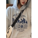 Casual Gray Long Sleeve Japanese Letter Print Drawstring Loose Fit Hoodie for Women