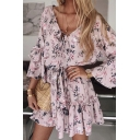 Pretty Girls Tiered Sleeve V-Neck All Over Floral Printed Ruffled Trim Bow Tie Wasit Relaxed Dress