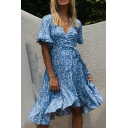 Glamorous Ladies Short Sleeve Surplice Neck Bow Tie Waist All-Over Floral Patterned Ruffle Long Flowy Wrap Dress in Light Blue