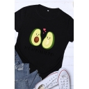 Lovely Girls Short Sleeve Crew Neck YOU COMPLETE ME Letter Avocado Graphic Loose Tee Top