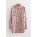 Funny Cute Girls Long Sleeve Lapel Collar Button Down All Over Comic Cat Printed High and Low Oversize Shirt