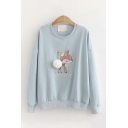 Casual Girls Long Sleeve Round Neck Deer Embroidery Pom Pom Loose Fit Sweatshirt