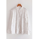 Fashionable Womens Long Sleeve Lapel Neck Button Down Floral Embroidery Loose Shirt in White