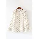 Gorgeous Ladies Long Sleeve Peter Pan Collar Button Down Polka Dot Printed Relaxed Fit Blouse Top