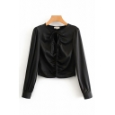 Elegant Boutique Ladies Long Sleeve Crew Neck Bow Tie Cut Out Solid Color Fitted Shirt in Black