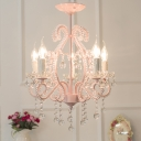 Girls Crystal Chandelier Pink Modern Chandelier Candle Chandelir with Crystal Balls