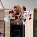 Antique Curving Arm Chandelier Light 3/6 Bulbs Metal LED Flower Pendant Lighting in Rust for Bedroom