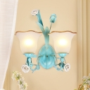 Blue 1/2 Bulbs Wall Lighting Vintage Metal Bell Wall Mount Light Fixture for Living Room
