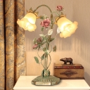1/2 Bulbs Blossom Table Light Traditional Green Metal Nightstand Lamp for Living Room