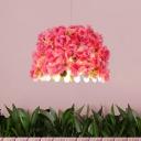 1 Bulb Flower Pendant Light Fixture Vintage White Metal LED Hanging Lamp for Restaurant