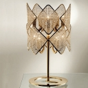 LED Rhombus Desk Lamp Modern Beveled Crystal Reading Light in Gold with Metal Base