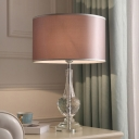 1 Bulb Bedroom Task Light Modernist Brown Nightstand Lamp with Drum Fabric Shade
