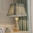 Urn-Shaped Table Light Contemporary Beveled Crystal 1 Head Small Desk Lamp in Grey
