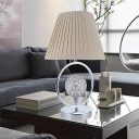 Ball Desk Lamp Modern Faceted Crystal 1 Bulb Beige Table Light with Fabric Shade