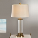 Cylindrical Nightstand Lamp Modern Hand-Cut Crystal 1 Head Reading Light in White