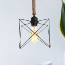 Black Caged Pendant Lamp Industrial Metal 1-Head Corridor Suspension Light with Rope Cord