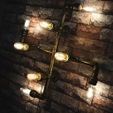 Bronze Cross Wall Light Sconce Industrial Metallic 4-Head Hallway Wall Mounted Lamp