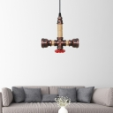 Piping Metal Ceiling Chandelier Antiqued 2-Bulb 8