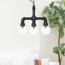 Clear Glass Black LED Chandelier Lighting Global 3/4-Light Farmhouse Suspended Pendant Lamp with Pipe Arm