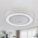 Acrylic White Ceiling Fan Lighting Linear/Square LED Modern Semi Flush Mount Light Fixture for Living Room, 21.5