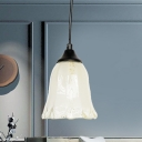 White Glass Floral Ceiling Light Contemporary 1-Head Black Pendant Lamp Fixture for Living Room