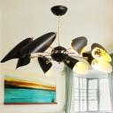 Bevel Cut Hanging Lighting Modernist Iron 8-Head Living Room Chandelier Lamp Fixture in Black
