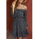 Pretty Ladies Long Sleeve Off the Shoulder All Over Flower Printed Ruffled Short A-Line Dress in Black