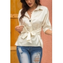 Elegant Ladies Roll-Up Sleeves Lapel Collar Button Down Bow Tied Waist Loose Shirt in Apricot