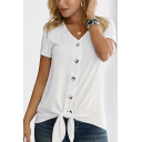Chic Solid Color Short Sleeve V-Neck Button Up Bow Tied Hem Relaxed T Shirt for Women