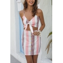 Sexy Ladies Pink Sleeveless Bow Tie Front Stripe Color Block Crop Cami Top & Mini Skirt Set
