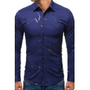 Chic Unique Long Sleeve Lapel Neck Button Down Lightning Bronzing Curved Hem Fit Shirt for Mens