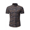 Hot Sale Mens Short Sleeve Lapel Collar Button Down All-Over Flower Printed Slim Fit Shirt