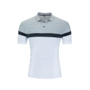 Leisure Guys Short Sleeve Lapel Collar Button Up Color Block Slim Fitted Gray Polo
