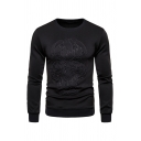 Simple Boys Long Sleeve Round Neck Floral Pattern Slim Fitted Pullover Sweatshirt