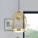 Metal Globe Cage Hanging Lighting Modern 1-bulb Gold Finish Ceiling Pendant Lamp with Bird Deco
