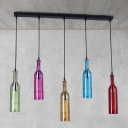 5 Bulbs Cluster Pendant Light Industrial Bottle Shaped Colorful Glass Ceiling Lamp in Black