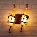 Bottle Corridor Sconce Light Fixture Art Deco Yellow/Yellow and Green/Red and White Glass 2-Head Copper Wall-Mount Lamp