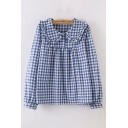 ute Trendy Blue Long Sleeve Peter Pan Collar Button Up Checker Printed Stringy Selvedge Relaxed Shirt for Girls