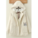 Fashionable Womens Long Sleeve Button Down Rabbit Embroidery Sherpa Liner Loose Fit Duffle Coat