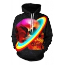 Cool Fashionable Long Sleeve Drawstring Skull Starry Sky 3D Pattern Pouch Pocket Relaxed Hoodie in Black