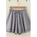 Ladies Leisure Solid Color Drawstring Waist Wide-Leg Shorts