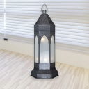 Grey Multifaceted Night Lighting Antique Metal 3 Bulbs Living Room Nightstand Light