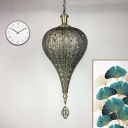 Traditional Hollow Pendant Lamp 1 Bulb Metal Ceiling Hang Fixture in Bronze for Restaurant