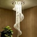 Crystal Spiral Multi Light Pendant Simple 5 Lights Black LED Ceiling Hang Fixture for Living Room