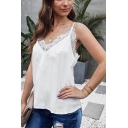 Stylish Ladies' Sleeveless V-Neck Lace Trim Solid Color Loose Cami Top