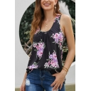 Summer Fancy Ladies' Sleeveless Scoop Neck All Over Flower Printed Relaxed Fit Tank Top