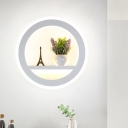 Metal White Sconce Wall Light Circular 1 Head LED Industrial Wall Lighting Fixture with Plant Decor