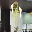 Geometric Restaurant Ceiling Lamp Industrial Metal LED Gold Semi Flush Mount Lighting with Plant Decor